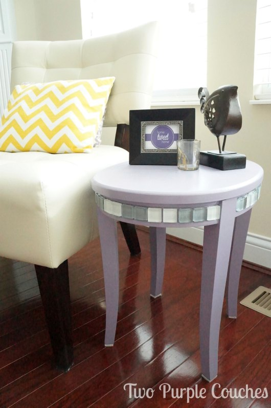 After - Side Table Makeover - Two Purple Couches
