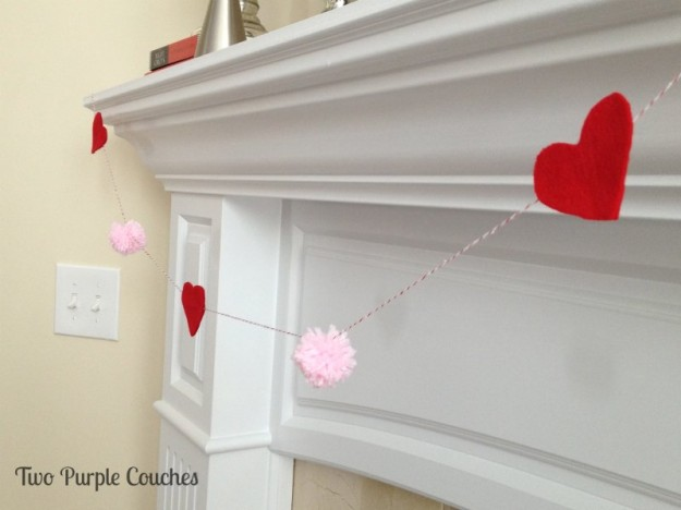 Felt heart and yarn pom garland