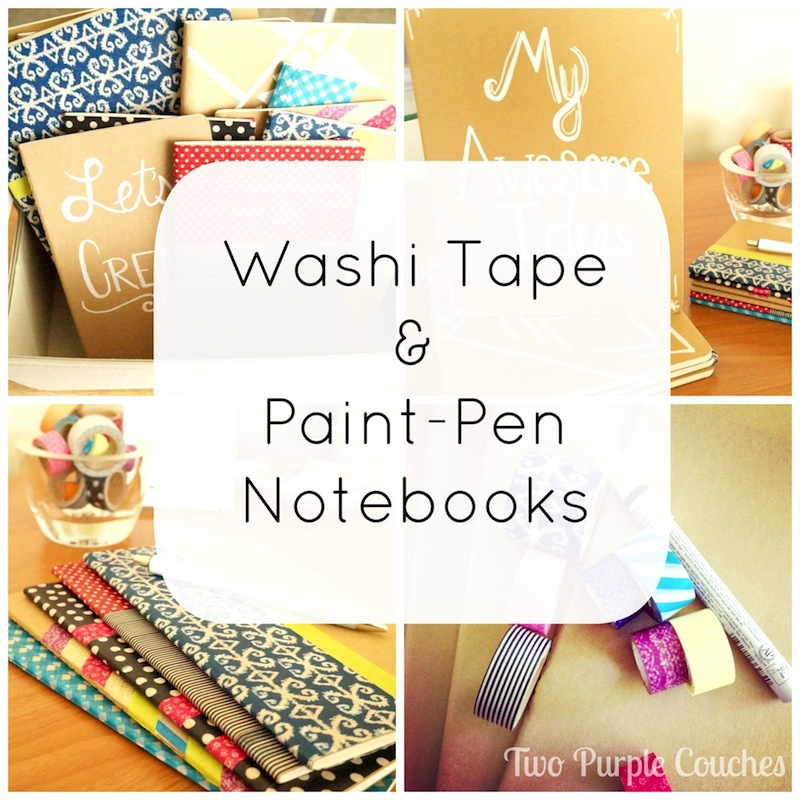 Washi Tape & Paint Pen Notebooks - Two Purple Couches