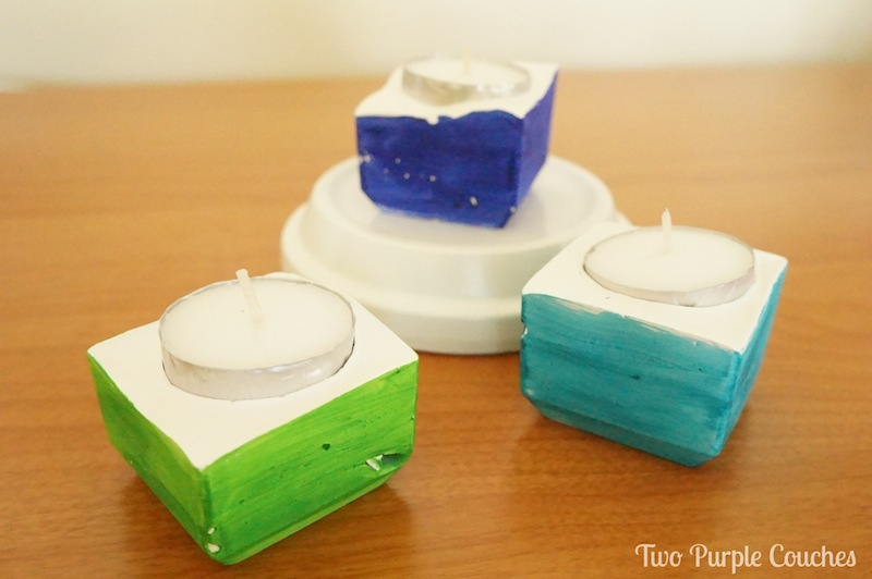 blue and green clay votives - Two Purple Couches