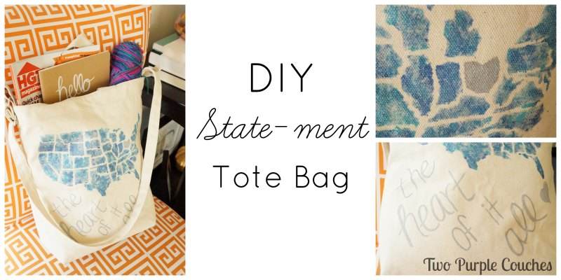 DIY Statement Tote - Two Purple Couches