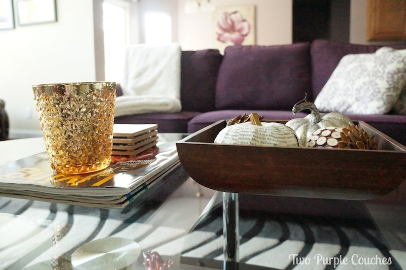 Fall Coffee Table - Two Purple Couches