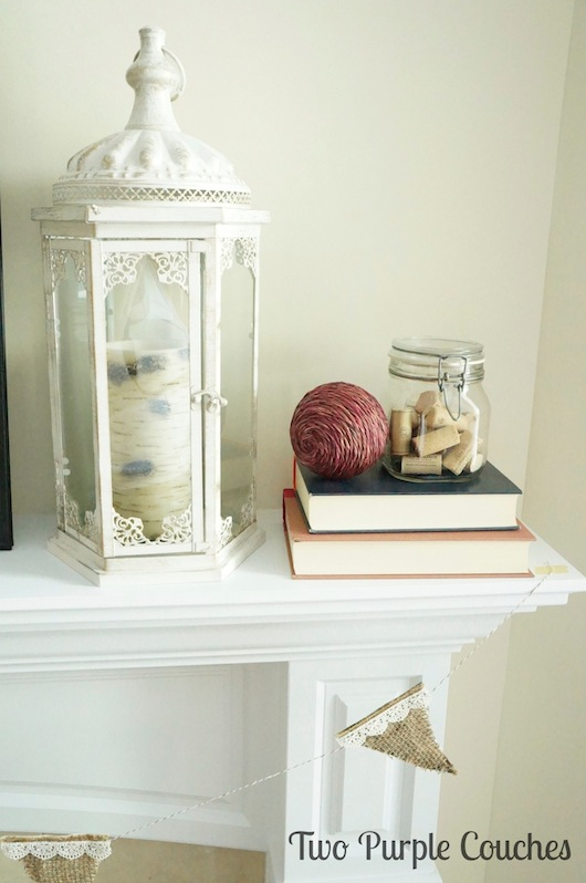 Fall Mantel Lantern - Two Purple Couches