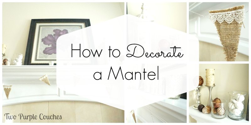 How To Decorate A Mantel how to decorate a mantel - two purple couches