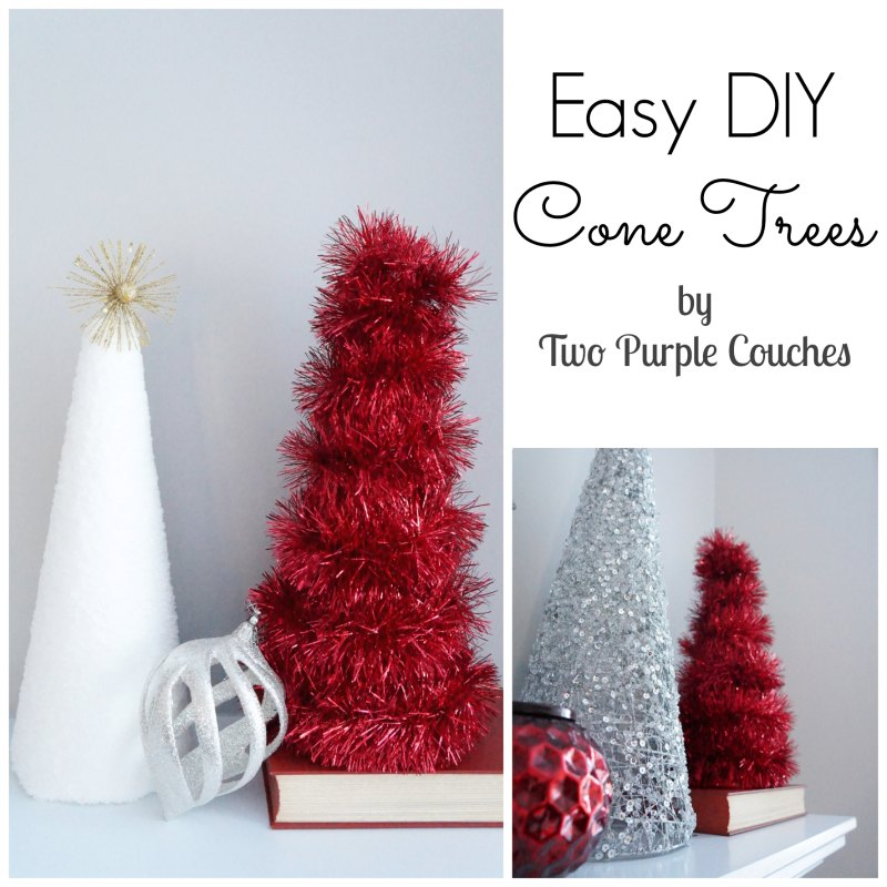 DIY Cone Trees - Two Purple Couches
