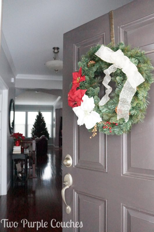 Front Door - Christmas Home tour - Two Purple Couches