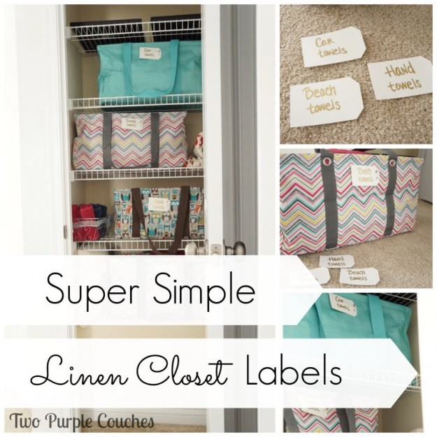 Super Simple Linen Closet Labels - Two Purple Couches
