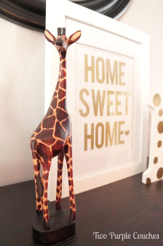 Giraffe carved wood accent