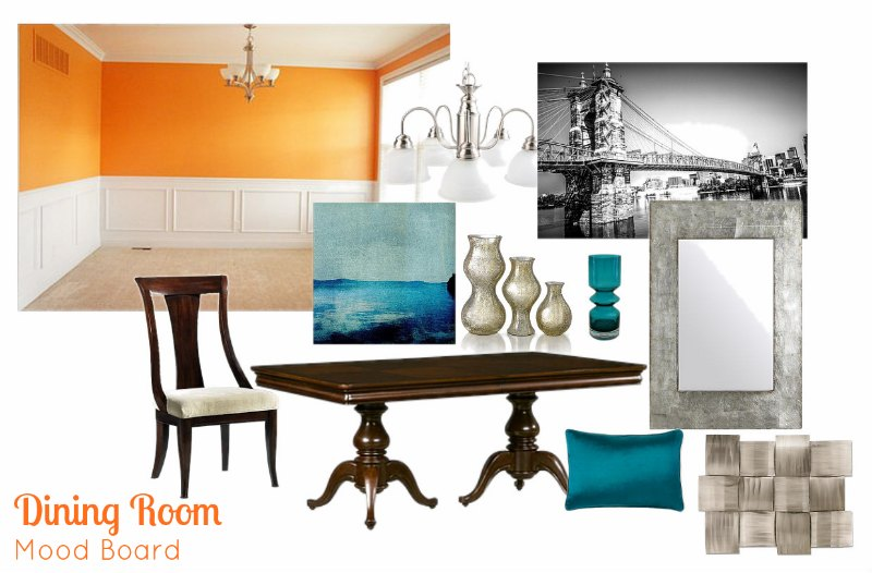 Dining Room Mood Board - Two Purple Couches