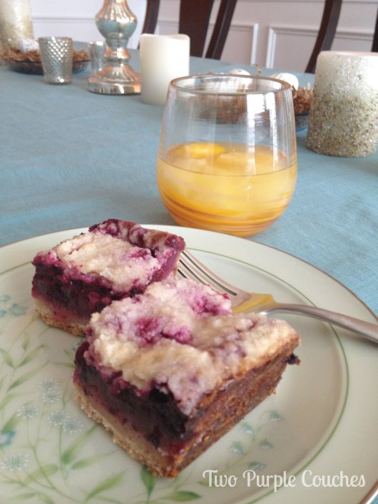 Blackberry Pie Bars and White Wine Sangria by Two Purple Couches