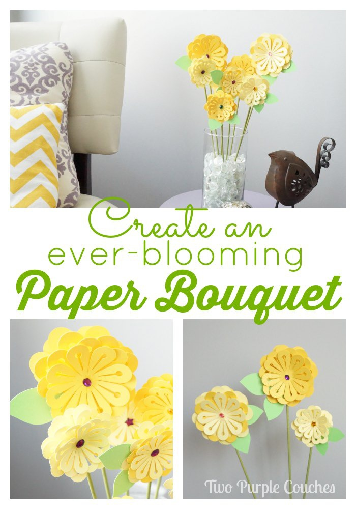Create a Paper Bouquet by Two Purple Couches