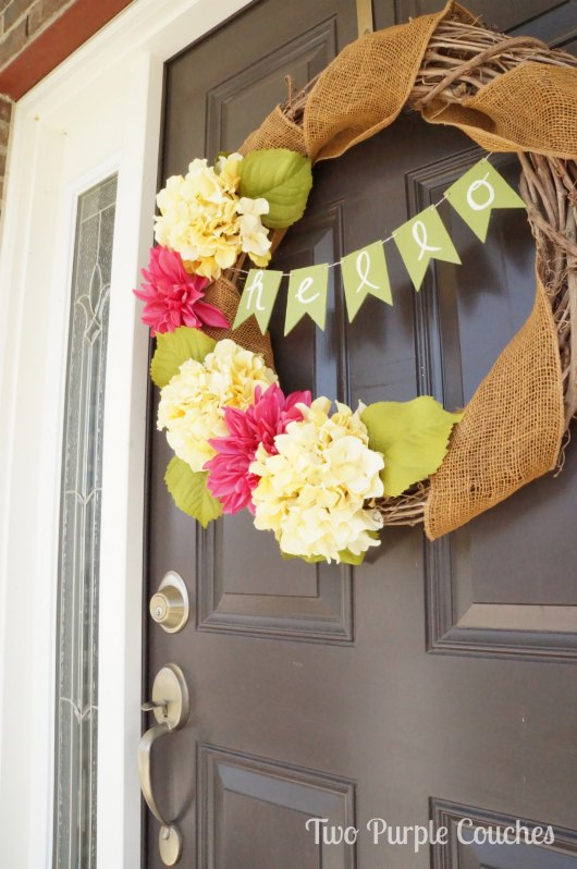 Front Door Wreath DIY Banner by Two Purple Couches