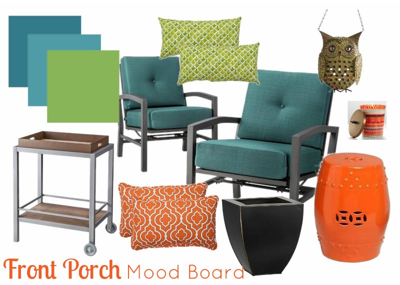 Front Porch Mood Board by Two Purple Couches #frontporch #frontporchdecoration #outdoorliving #outdoorstyle #patio #porch #summer