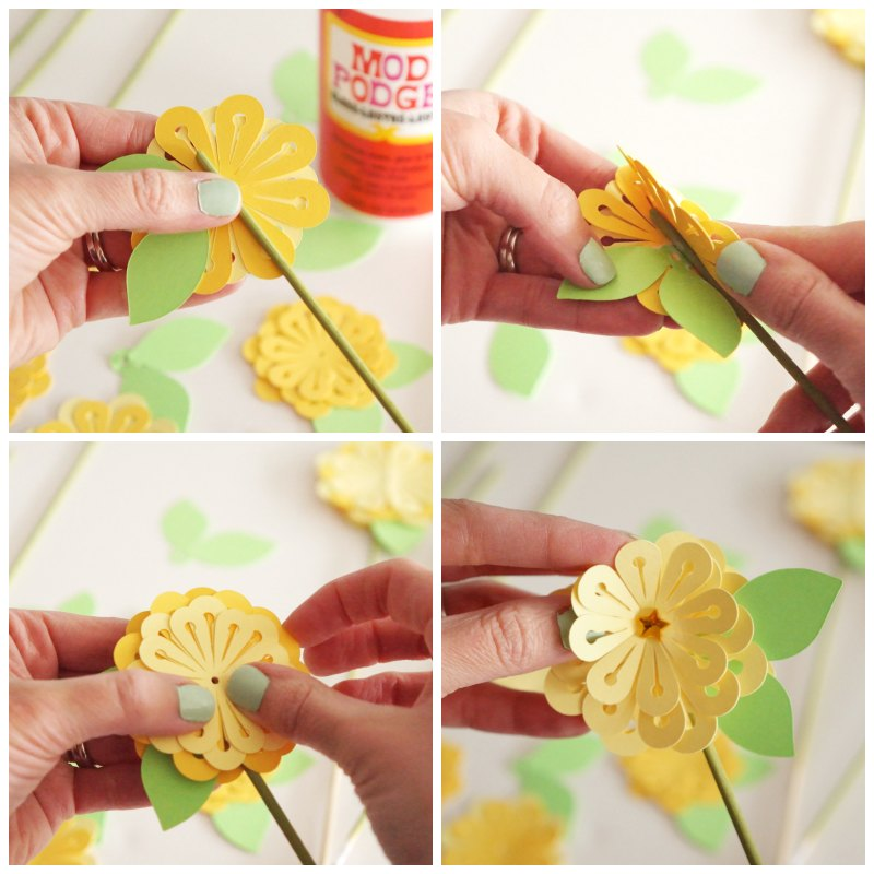 Make a Paper Bouquet by Two Purple Couches