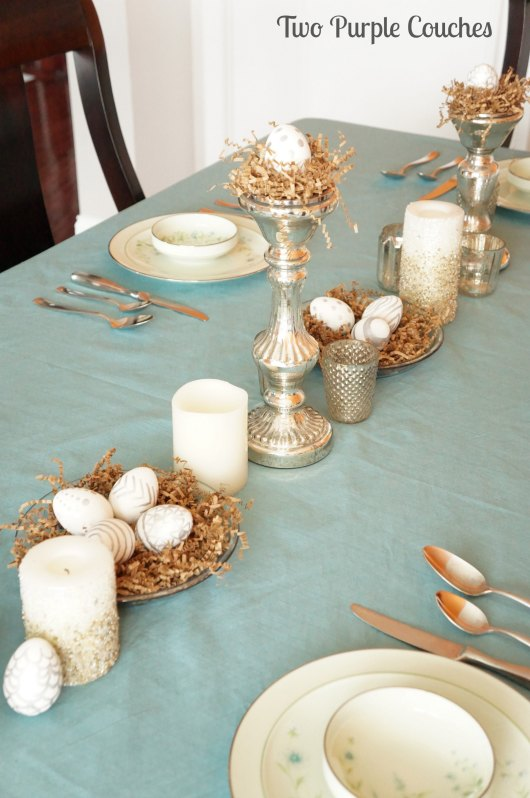 Mercury Glass Easter Table by Two Purple Couches