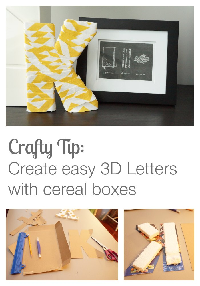 3D letters made from cereal boxes by Two Purple Couches #diy #crafts #craftnight #letters #lettercrafts