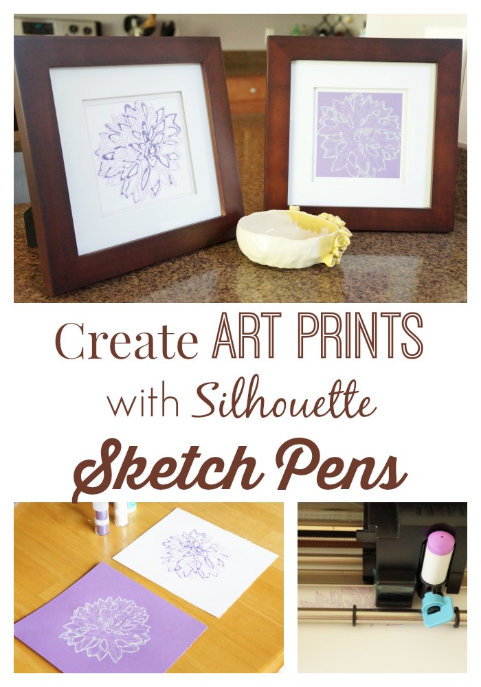 Create art prints with Silhouette Sketch Pens by Two Purple Couches #silhouette #silhouettecameo #papercrafting #papercrafts #glitter #peony #flowerart