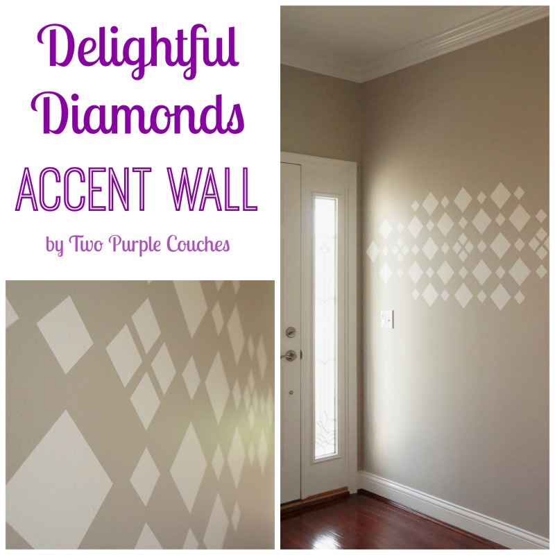 Delightful Diamonds Accent Wall by Two Purple Couches #accentwall #walldecal #cozywallart