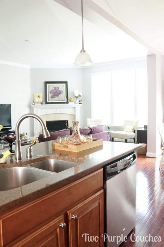 House Tour of Kitchen Island by Two Purple Couches