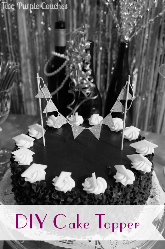 Make a simple DIY Cake Topper for your next party by Two Purple Couches #birthday #birthdaycake #caketopper #diybunting #roaringtwenties #gatsbyparty