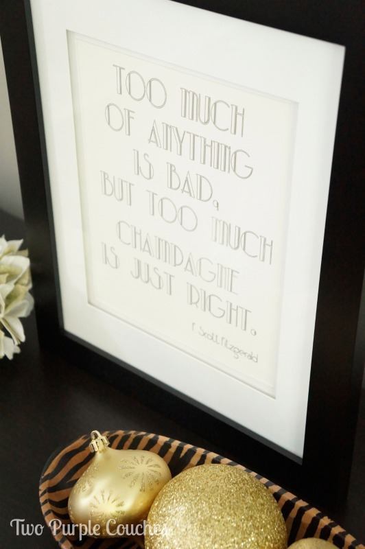 F. Scott Fitzgerald Champagne print by Two Purple Couches #roaringtwentiesparty #gatsbyparty #partydecor #wordart