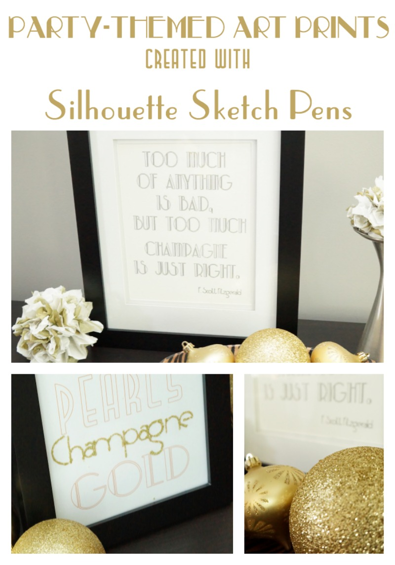 Create party themed art prints using Silhouette Sketch Pens by Two Purple Couches #silhouette #silhouetteamerica #diyart #typographyart