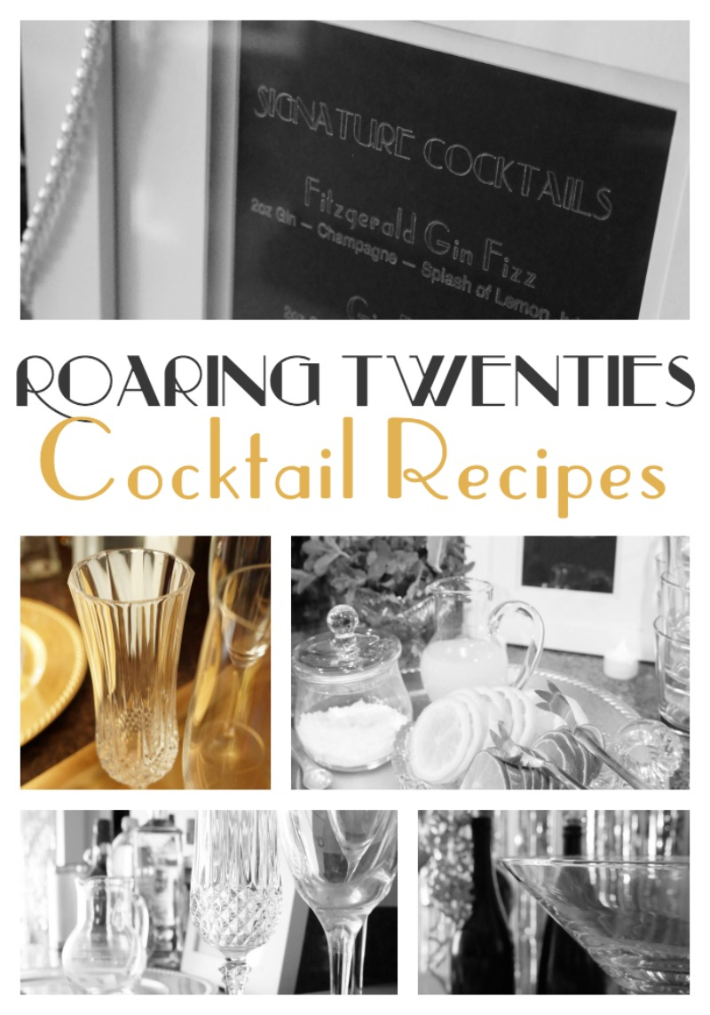 roaring twenties cocktail recipes and more by Two Purple Couches #roaringtwentiesparty #gatsbyparty #cocktailmenu #cocktailbar