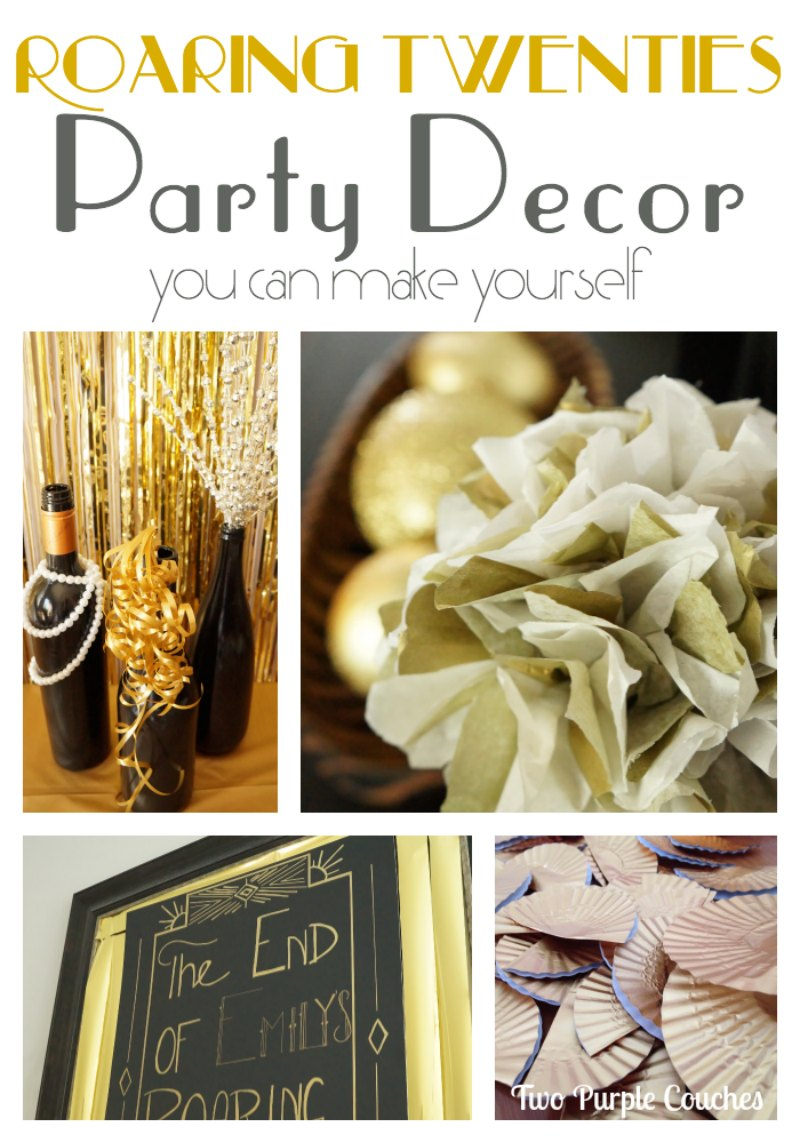 Roaring Twenties Party Decorating Ideas by Two Purple Couches #roaringtwenties #birthdayparty #roaringtwentiesparty #diy #partydecor