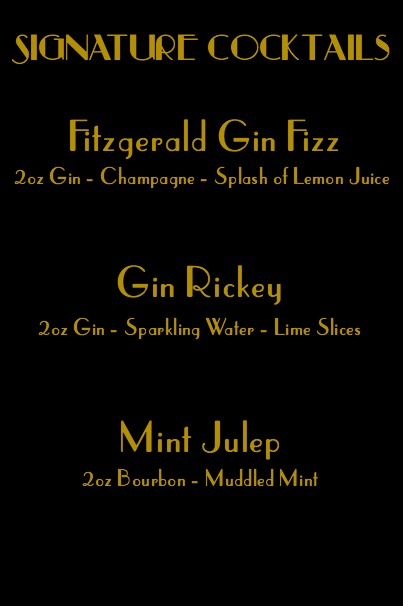 Roaring Twenties Party Signature Cocktails by Two Purple Couches #roaringtwentiesparty #gatsbyparty #cocktails #cocktailmenu #cocktailbar