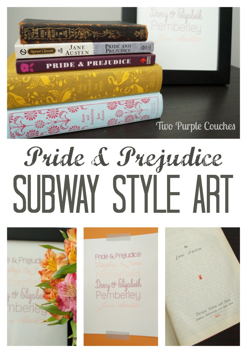 Jane Austen inspired Subway Style Art by Two Purple Couches #silhouettecameo #silhouettechallenge #austen #subwayart