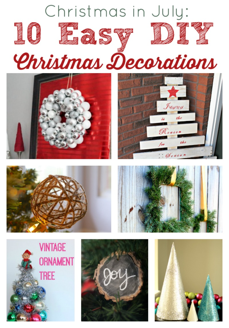 A Christmas in July Round-up of Easy DIY Christmas Decorations so you can plan ahead for this holiday season by Two Purple Couches #christmasinjuly #holidaydecor #diy