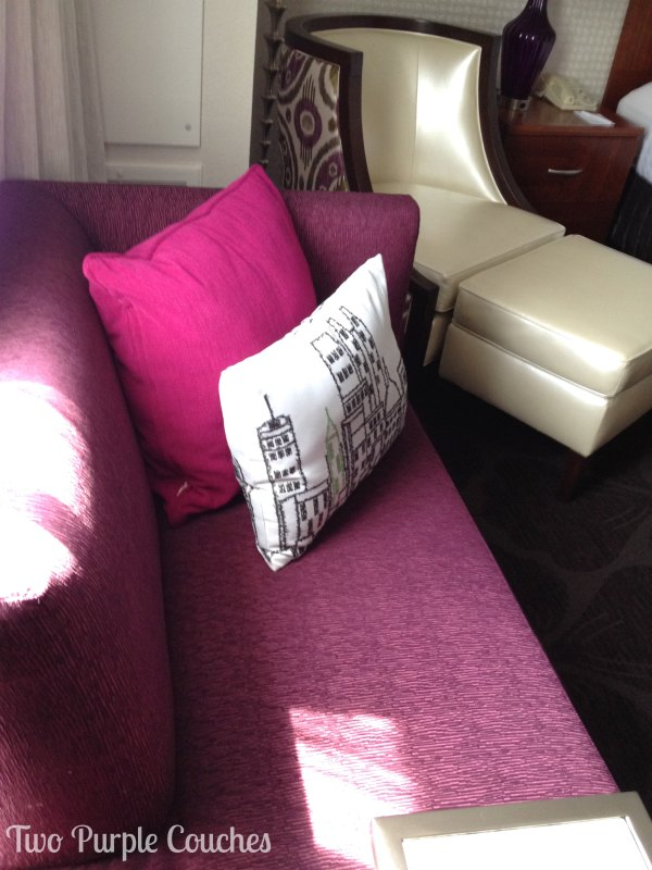 My hotel room was furnished with a purple couch! What are the chances? #havenconf