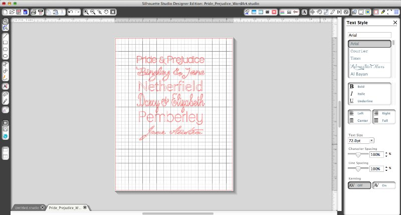 A snapshot of how I made my Pride and Prejudice subway style art in Silhouette Studio