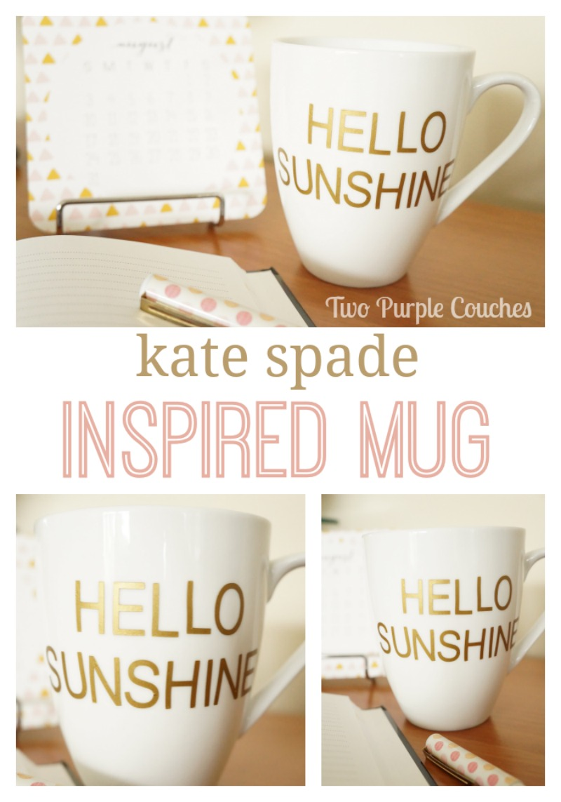 Create a Kate Spade inspired mug with Silhouette vinyl by Two Purple Couches #silhouette #vinyl #diy #knockoffproject #katespade #diyproject