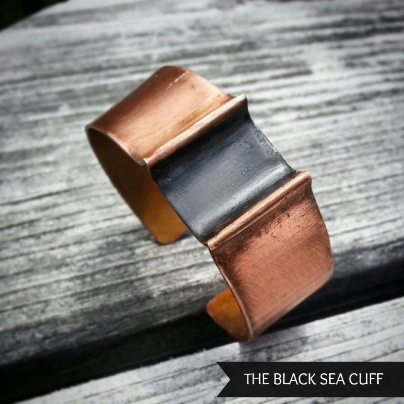 Black patina and copper cuff inspired by The Black Sea #somedaysago #buyhandmade #jewelry www.twopurplecouches.com