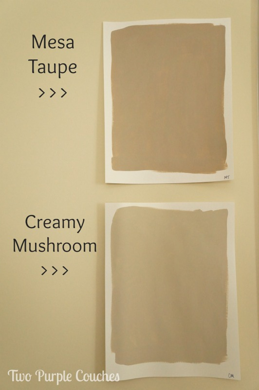 What a great tip! When you're testing out paint swatches, get sample-sized pots and paint pieces of card stock to hang around the room. #painting #diy  www.twopurplecouches.com