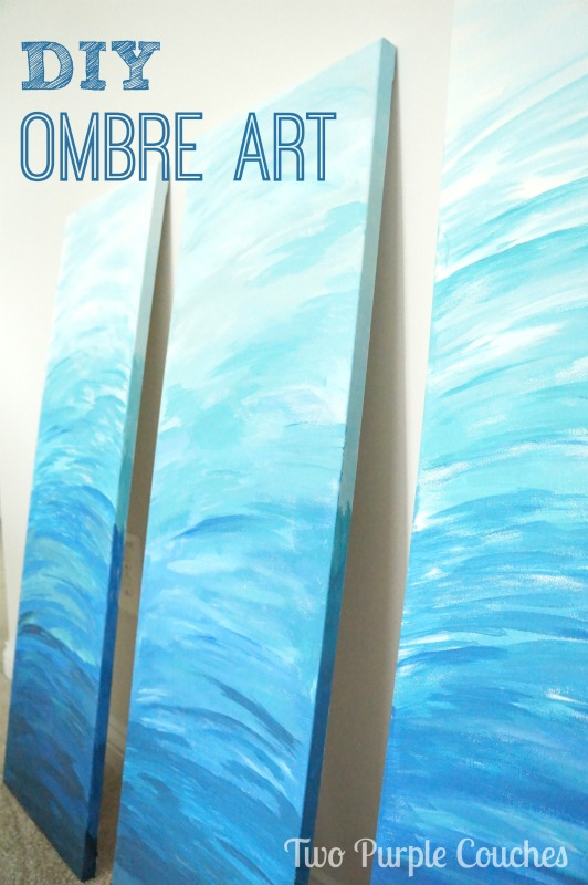 Create beautiful, abstract DIY ombre art with these simple steps from www.twopurplecouches.com #painting #ombre #art #diyart