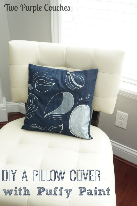 "Love this idea of using dimensional ""puffy"" paint to create a unique throw pillow. via www.twopurplecouches.com #puffypaint #crafts #diy #diyprojects #throwpillows #homedecor"