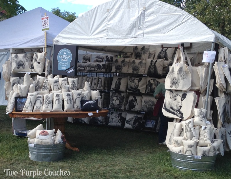 Loving the animal portrait pillows and totes from this vendor at the Country Living Fair in Columbus Ohio. via www.twopurplecouches.com #CLFair #CountryLiving #Fall #Fair #pillows
