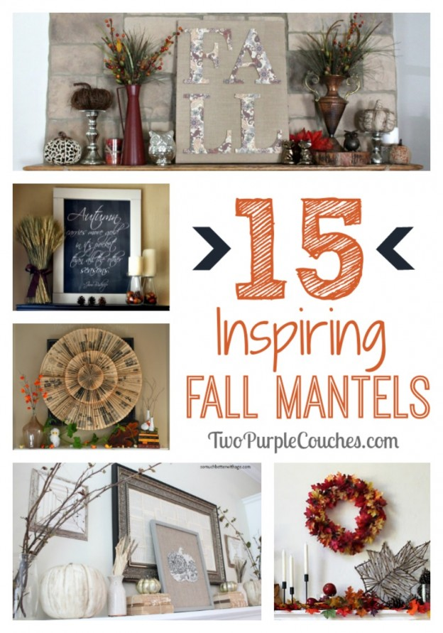 15 Great Ideas for Fall Mantels and decorating via www.twopurplecouches.com #fall #autumn #decorating #homedecor