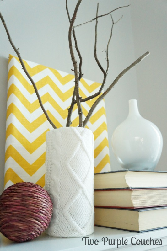 Great DIY idea: cover a vase with an old sweater sleeve for texture. via www.twopurplecouches.com #fall #falldecor #mantels #homedecor
