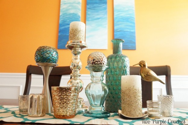 Bright and bold dining room in orange and teal. via www.twopurplecouches.com #homedecor #diningroom #orange #teal #color