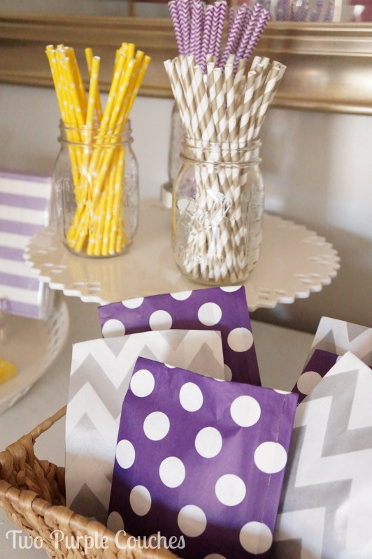 Don't forget the treats for your guests! Love these adorable patterned treat bags! Styled for Celebrate by Kate in Madeira, Ohio. via www.twopurplecouches.com #celebratebykate #partytime #letsparty #purpleparty #yellowparty #partydecor