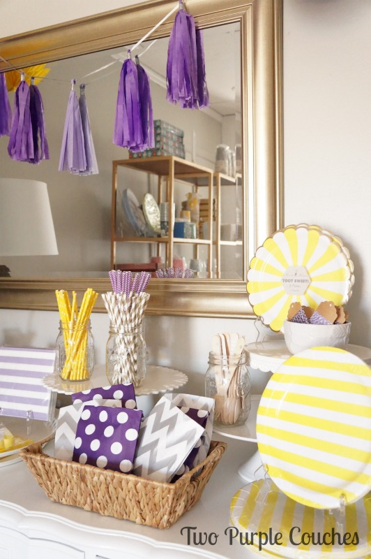 Pretty purple and yellow party vignettes created with chic party supplies. Styled for Celebrate by Kate in Madeira, Ohio. via www.twopurplecouches.com #celebratebykate #partytime #letsparty #purpleparty #yellowparty #partydecor