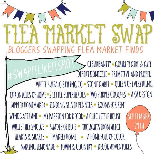 A bunch of your favorite bloggers, swapping flea market finds and re-imagining them into something new! via www.twopurplecouches.com #swapitlikeitshot #fleamarket #upcycle #repurpose
