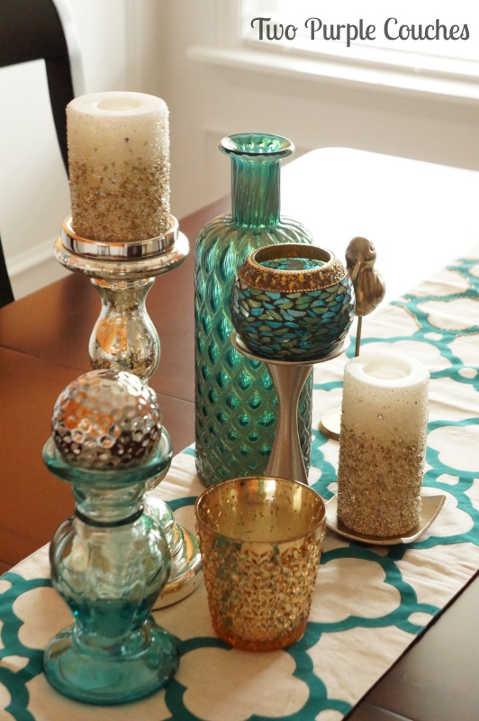 Pretty mix of teal and gold table centerpiece. via www.twopurplecouches.com #homedecor #diningroom #orange #teal #color