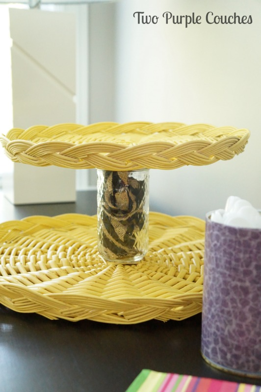 Perfect for summer parties and grill outs! Tiered wicker serving tray via www.twopurplecouches.com #fleamarket #upcycle #repurpose #wicker #macrame #swapitlikeitshot
