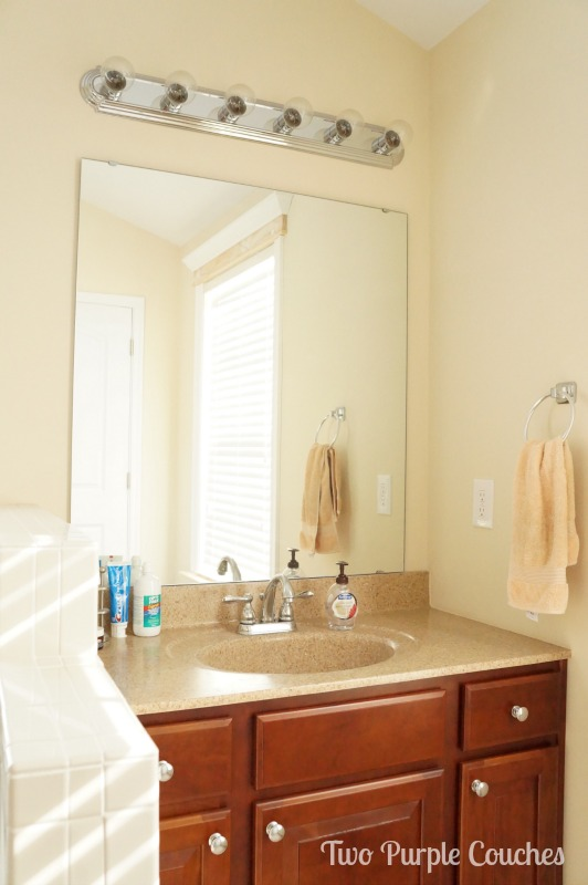 Would you choose sconces or a (different) vanity light for this bathroom space? via www.twopurplecouches.com