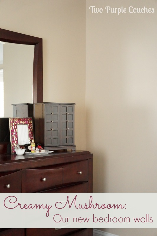 Beautiful bedroom makeover with Creamy Mushroom via www.twopurplecouches.com