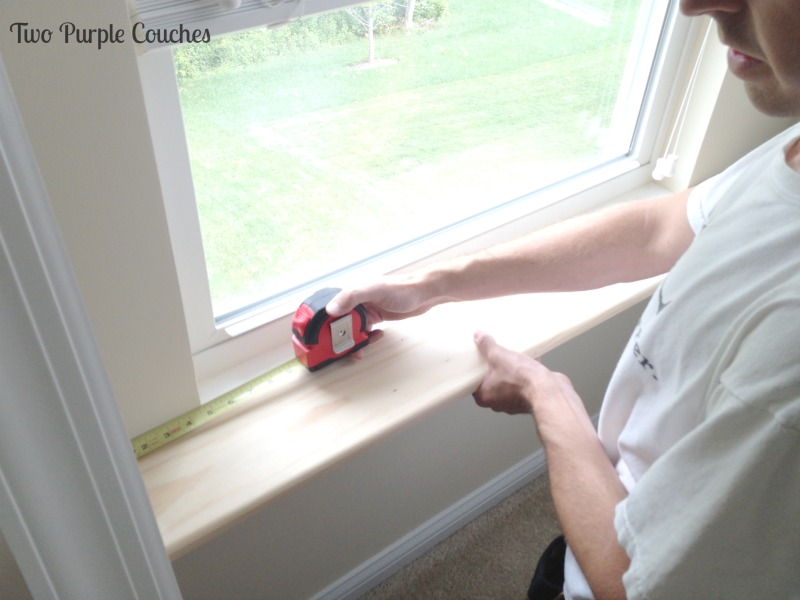 For a custom look, measure sill to extend 1-inch past any window trim you plan to install. via www.twopurplecouches.com #diy #masterbedroommakeover #buildlikeagirl